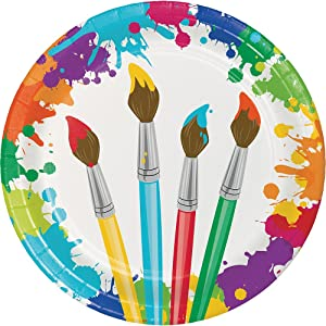 """Creative Converting 8-Count Sturdy Style 8.75-Inch Round Paper Plates, Art Party, 8.5"""", Multicolor"""