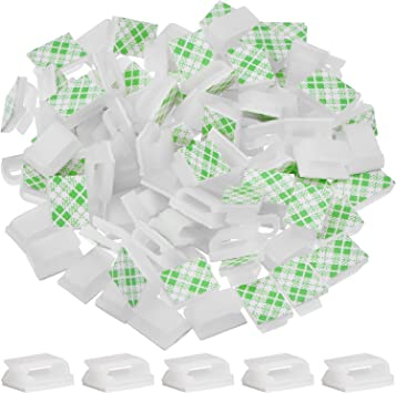 100 Pieces Adhesive Cable Clips Wire Management Cord Holder 13 X Mm, White