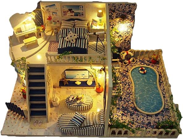 Lixibei Juguete de descompresión, Santorini Madera Mini casa artesanías Sorpresa Dollhouse miniaturas Kit Decoraciones Rompecabezas Juego (con música, Luces): Amazon.es: Hogar