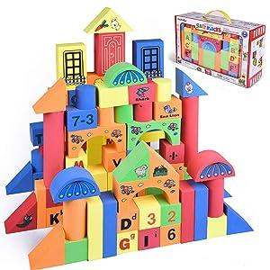 Funlittletoy 108 PCs Foam Building Blocks for Kids, EVA Foam Blocks with Alphabet and Number, Creative Educational Stacking Blocks, Non Toxic