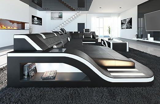 Sofa Dreams Leder Wohnlandschaft Palermo U Form Schwarz Weiss