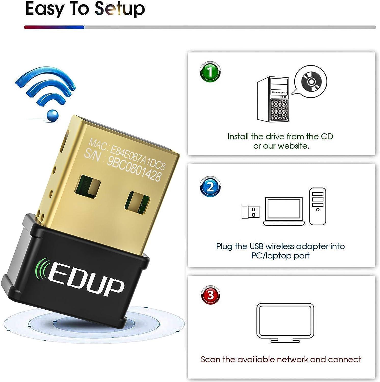 EDUP Mini Adaptador WiFi USB para computadora portátil AC1300Mbps Nano Tarjeta de Red inalámbrica Wi-Fi Dongle Dual Band 2.4G 5.8G 802.11AC Soporte ...