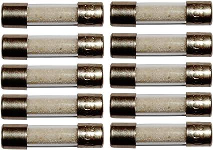AERZETIX 10 fusibles rapides temporis/és en verre 2cm 5x20mm 220V 250V 6.3A