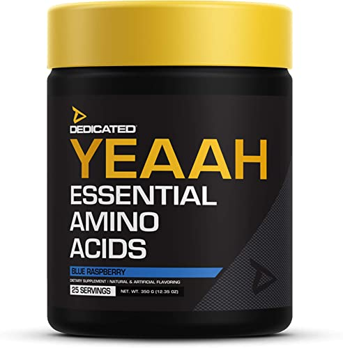 DEDICATED Nutrition YEAAH EAAs Essential Amino Acids, Branched Chain Amino Acids, Recovery, Muscle Growth, Pump, Electrolytes, Intra-Workout Citrulline, Leuice, Taurine Blue Raspberry