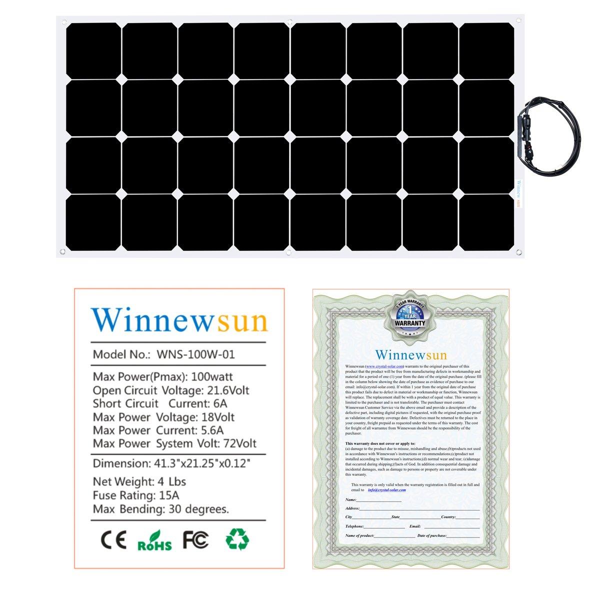 Flexible Solar Panel ,SunPower Solar Panel 100w 18V 12V ,Lightweight Flexible Solar Power Panels for RV Boat Truck Car Van Tent by Winnewsun (Image #3)