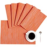 DOLOPL Fall Placemats Orange Placemat Set of 6 Crossweave Woven Vinyl Easy to Clean Wipeable Washable Heat Resistant…