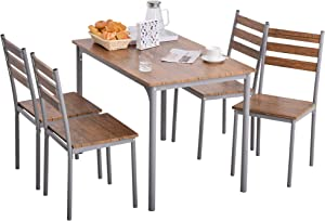 HOMCOM Modern 5-Piece Wooden Dining Kitchen Table Set 1 Table 4 Chairs Metal Legs Brown