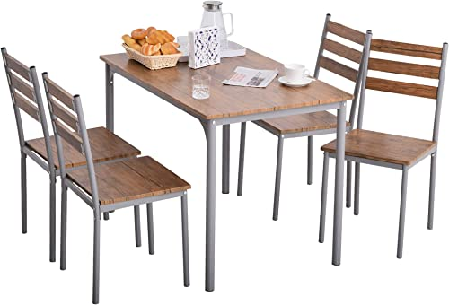 HOMCOM Modern 5-Piece Wooden Counter Dining Kitchen Table Set