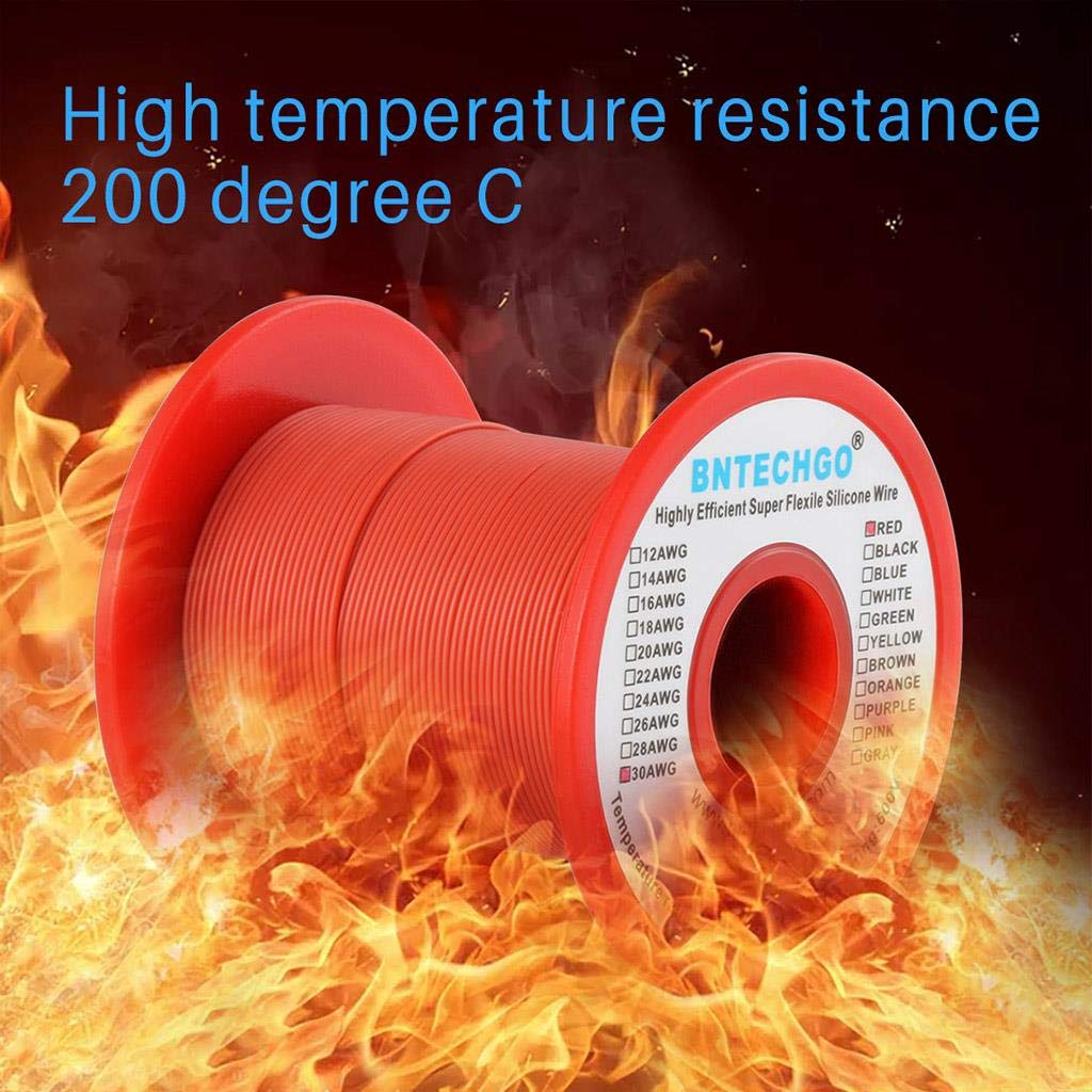 BNTECHGO 30 Gauge Silicone Wire Spool Red 250 feet Ultra Flexible High Temp 200 deg C 600V 30 AWG Silicone Rubber Wire 11 Strands of Tinned Copper Wire Stranded Wire for Model Battery Low Impedance bntechgo.com