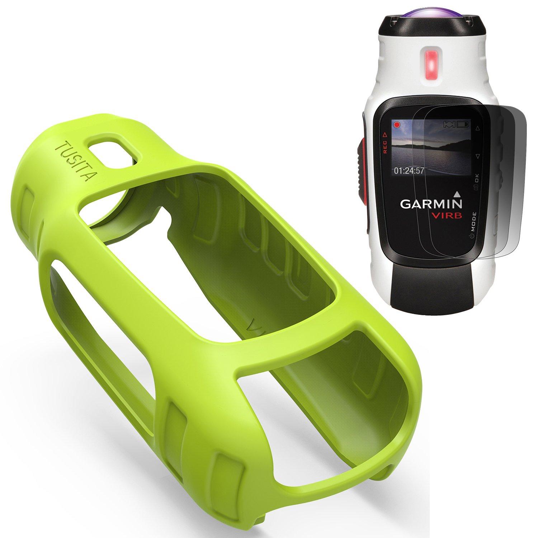 TUSITA Housse de Protection pour Garmin Virb Elite, Accessoires de Protection en Silicone pour Caméra Garmin Virb Elite avec Protection d'écran