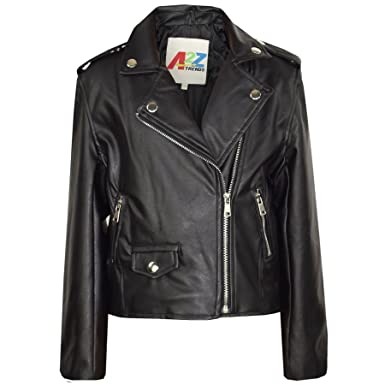 44dfccf4e Kids Jackets Girls Designer's PU Leather Jacket Zip Up Biker Coats 7-13  Years