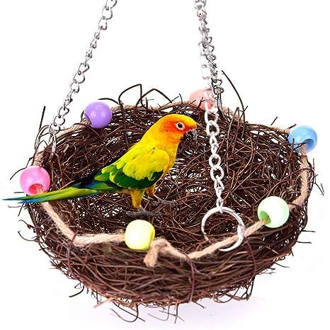 SimpleMfD Rattan Birds Nest Toy Parrot Columpio Columpio Nido con ...