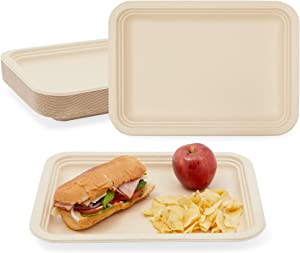 Bagasse Paper Trays, Disposable Food Serving Platters (14 x 10 In, 25 Pack)