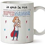 Tazza mamma migliore del mondo – io amo la mia super mamma – Tazza in ceramica da 350 ml Idea regalo festa della mamma