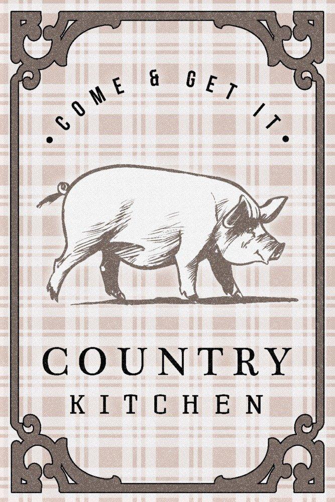 カントリーキッチン – 豚on Plaid 36 x 54 Giclee Print LANT-83901-36x54 B077V2HK2L  36 x 54 Giclee Print