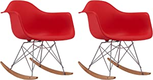 Casa AndreaMilano Rocking w/Arms, Set of 2 Eames Style Shell Plastic Rocker Chairs for Bed, Nursery, Living Room-Red