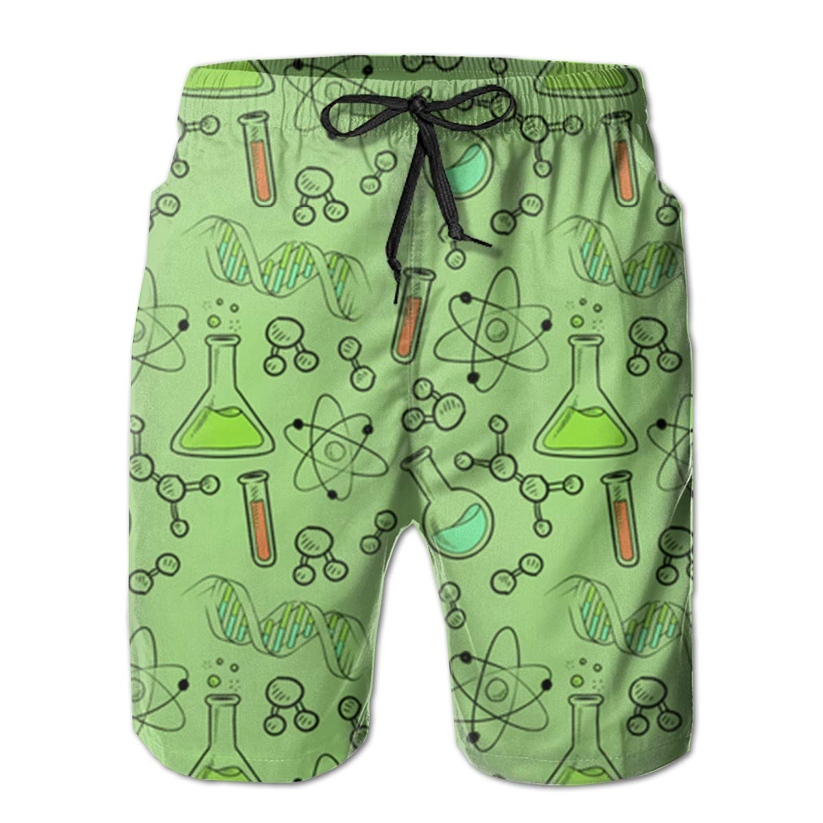 FASUWAVE Mens Swim Trunks Science Lab Quick Dry Beach Board Shorts with Mesh Lining