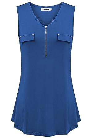 ab791b7de72ec Amazon.com  Ninedaily Women s Henley Zipper V Neck Tunic Tank Flowy Sleeveless  Blouse Tops  Clothing