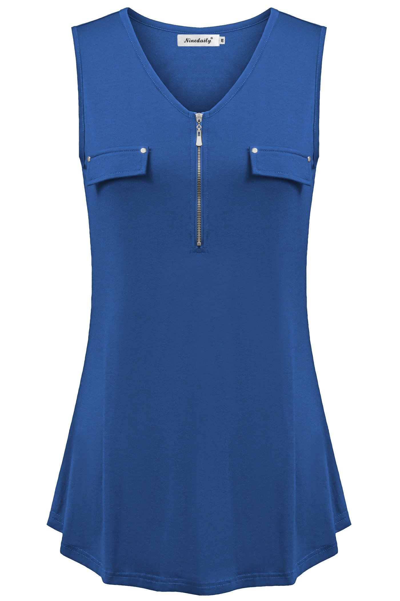 Ninedaily Tunic Tank Top for Women, Plain Blouse for Women for Work Office Business Casual V Neck Henley Summer Casual XXL Tunic Shirt Royal Blue
