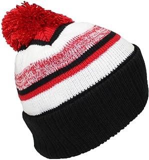 2d6e5092456 Best Winter Hats Quality Striped Variegated Cuffed Beanie W Pom (L XL)