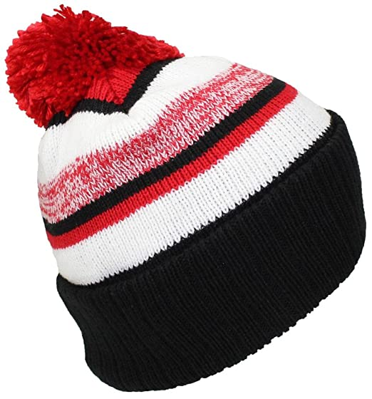Best Winter Hats Quality Striped Variegated Cuffed Beanie W Pom (L ... 7bbd334d348