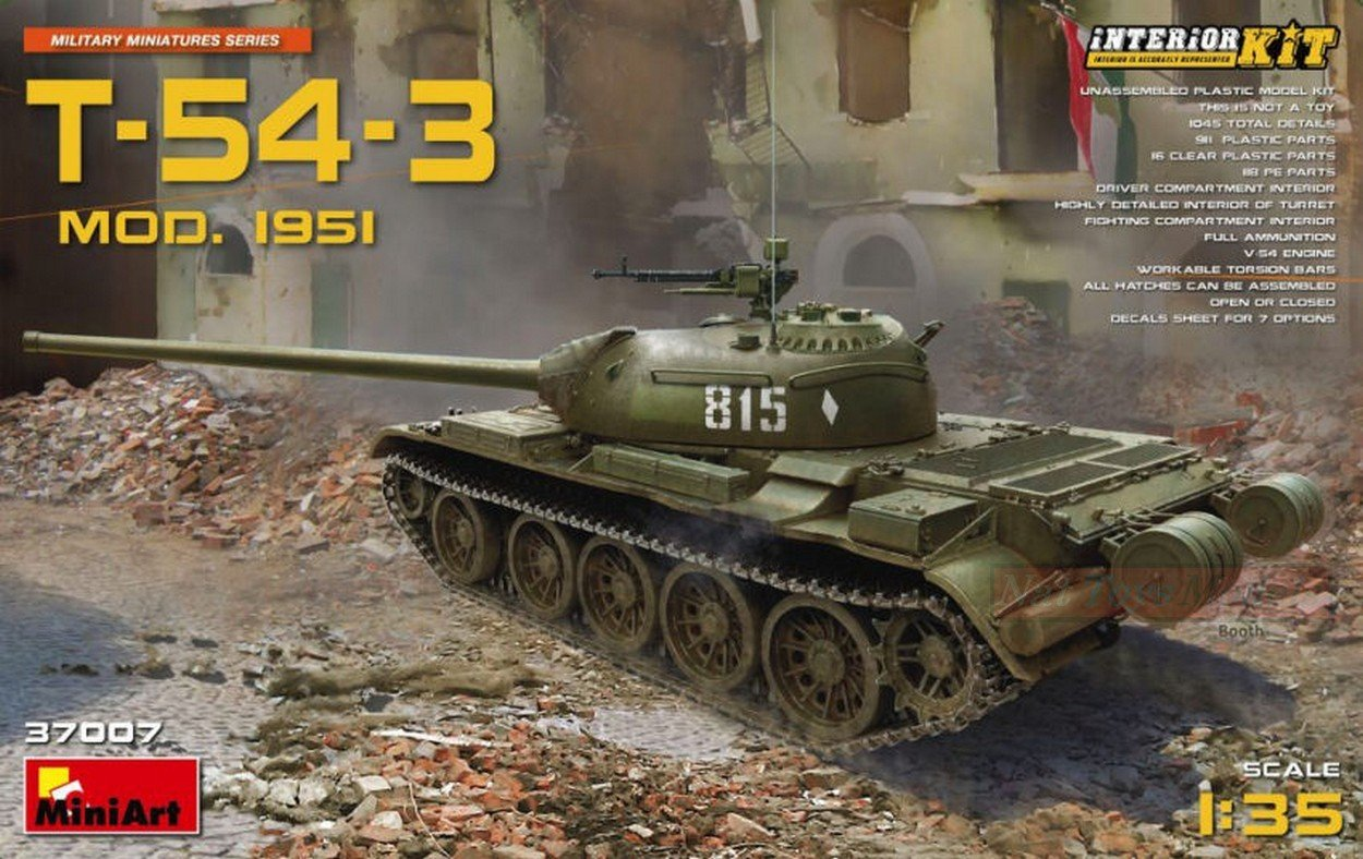 NEW MINIART MIN37007 T-54-3 Soviet Medium Tank Mod.1951 Kit 1:35 MODELLINO Model