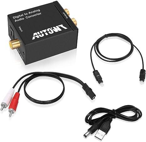 date de sortie: nouveau design nouveau authentique AutoWT Digital Optical Coaxial Toslink Signal to Analog Audio Converter  Adapter RCA L/R output with Optical Toslink Cable Standard RCA with 3.5mm  ...