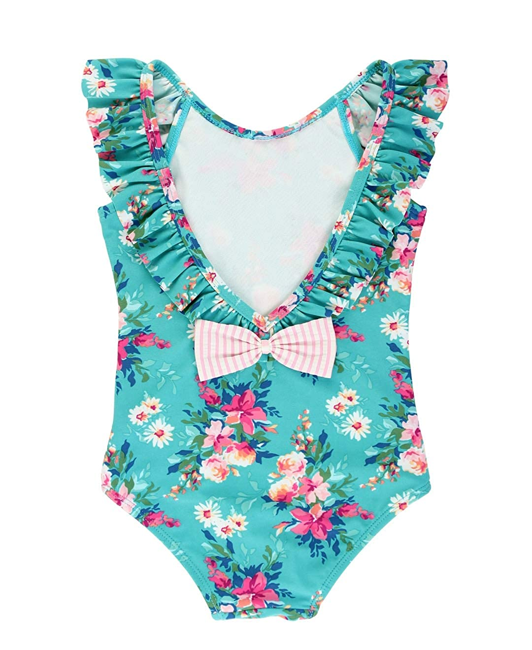 12-18m RuffleButts Baby//Toddler Girls Fancy Me Floral Ruffle One Piece