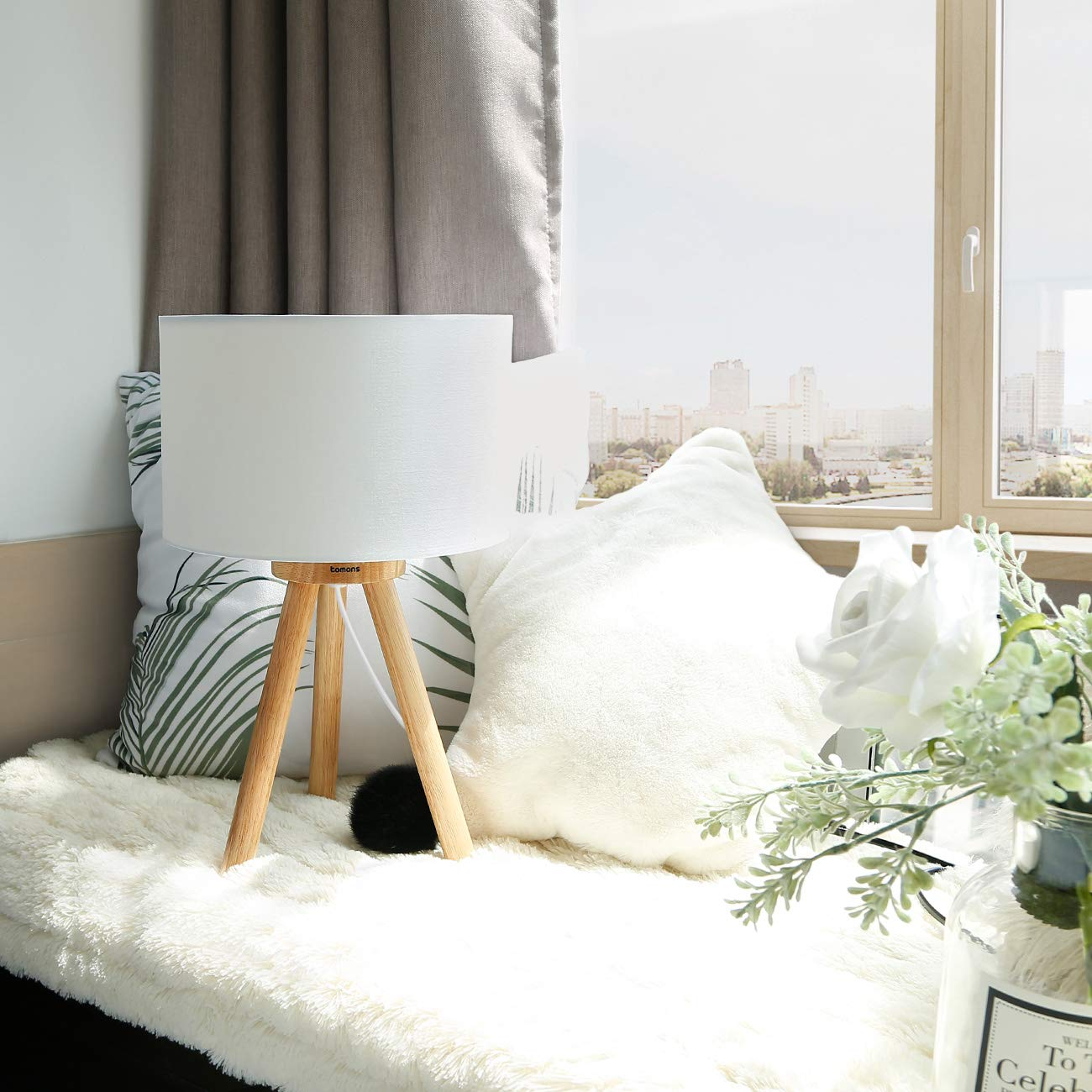 Tomons Wood Tripod Bedside Lamp, Simple Design with Soft Light for Bedroom Decorated in Warm and Cozy Ambience, Polyester White Fabric Lampshade, Packaged with 4W LED Bulb, Warm White Light, 39cm High by Tomons (Image #2)
