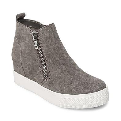 Steve Madden Women's Gills Fashion Sneaker, Grey Suede, 8 M US