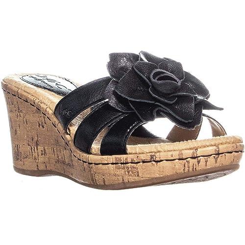 c69e6b3119 Amazon.com | Born B.o.c Manona Black Leather Platform Wedge Sandals Women  Size 6 M | Platforms & Wedges