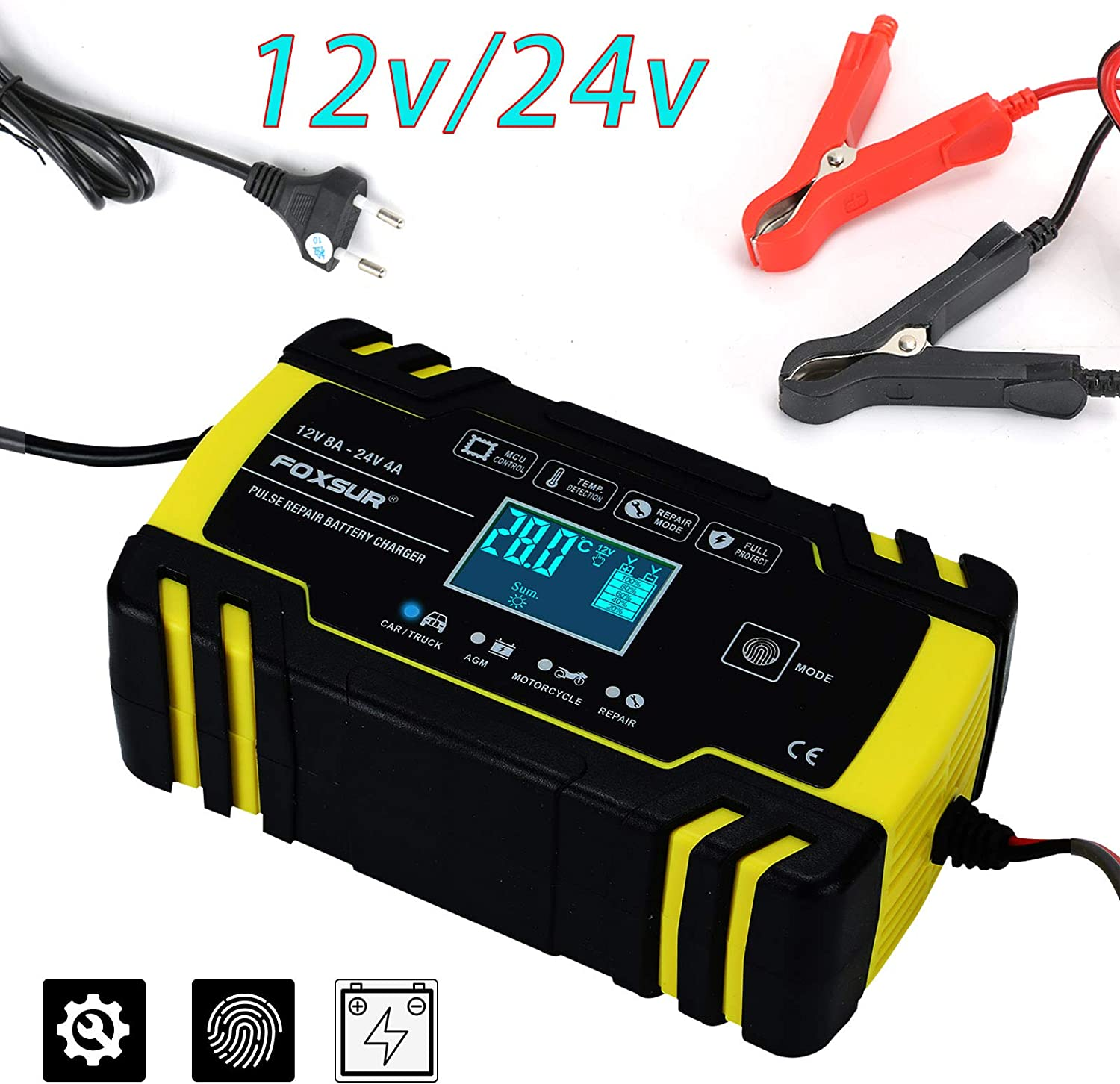 Coldshine Car Battery Charger Maintainer Automatic Intelligent Smart Pulse Repair Starter 12V 24V LCD with LCD Screen for Cars Motorcycles Boat