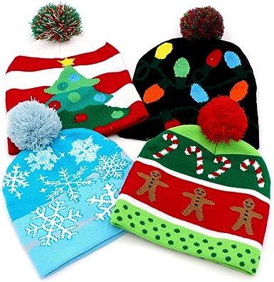 LED Light Up Santa Beanie Knit Cap with 10 Colorful Flashing LED Christmas Gift