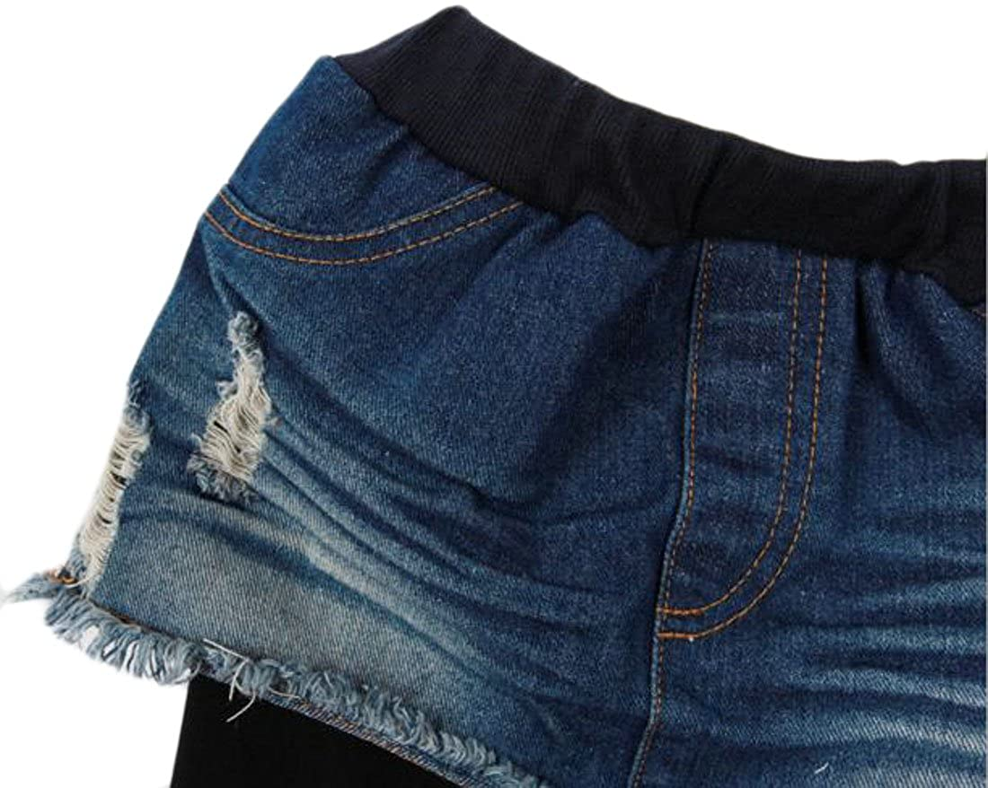 Papijam Girls Classic Fleece Fake Two Denim Skirt and Legging Pants Black 5T