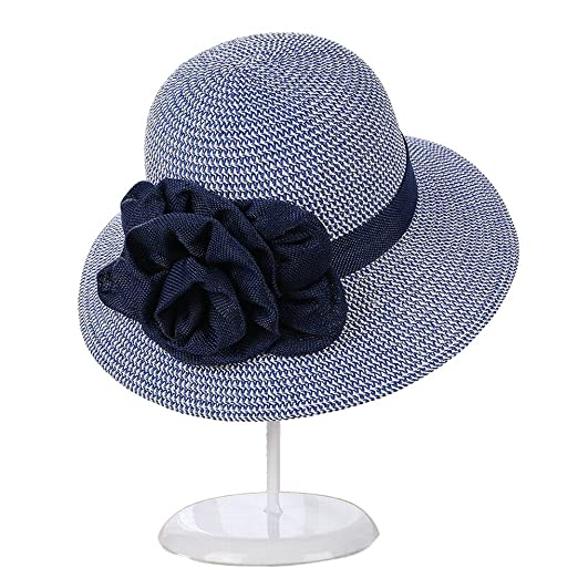 c8b6f54e0b6 Women s Woven Wide Brim Hat Flower Band UPF50 Foldable Summer Sun Beach  Straw Hats (Blue