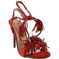 Forever Link Rubina 57 Womens Fringe Open Toe High Heel Sandals