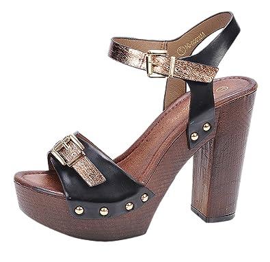 6524b26f733 Nature Breeze Women s Maroon-04 Elegant Two-Tone Chunky High Heel Wooden  Platform Buckle Sandal