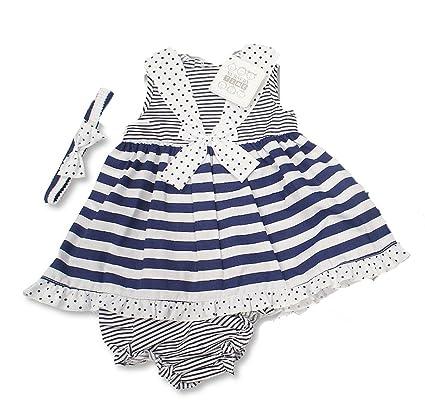 d4f5e0ccc Bebé niñas diseño de rayas blanco azul marino vestido de verano con lazo  inc braguita
