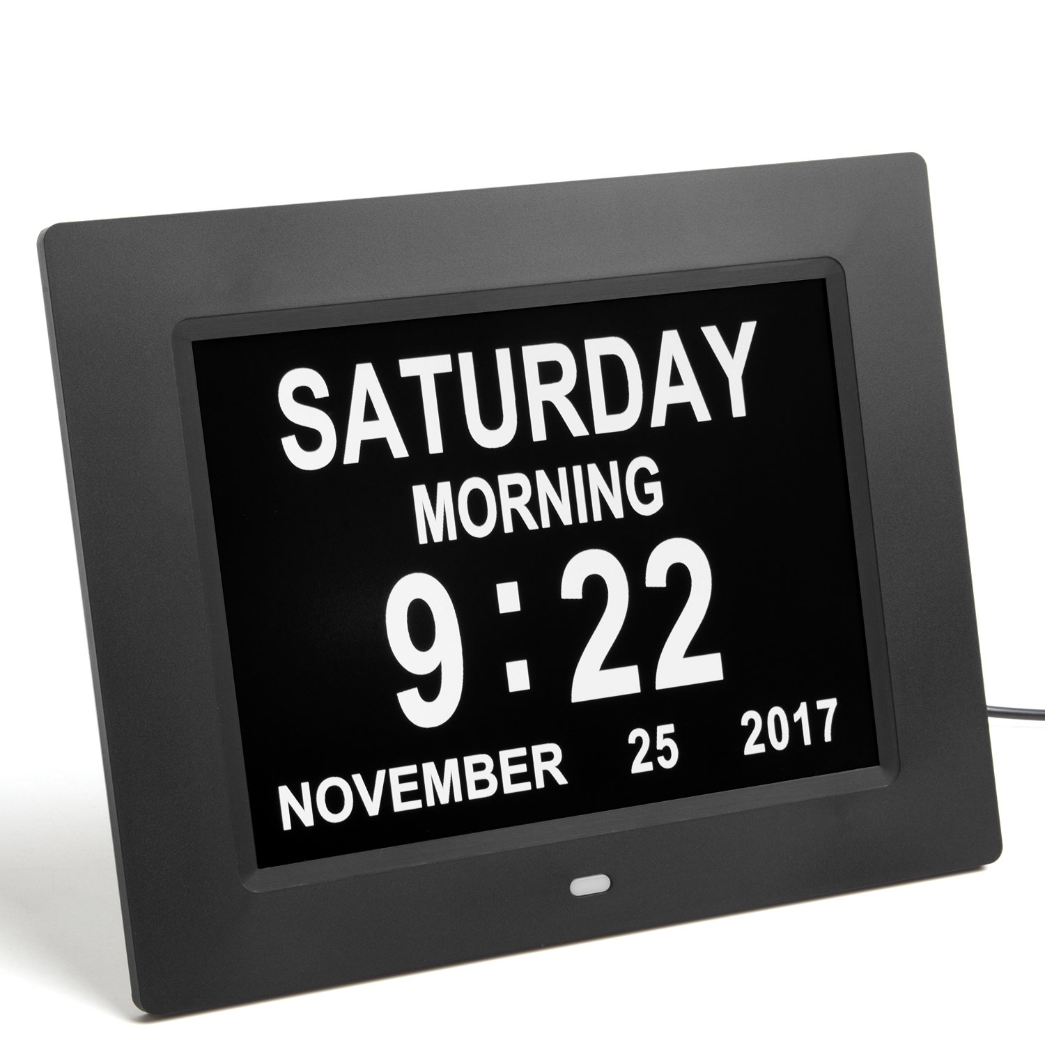 GeekDigg Desk Clock, Extra Large Impaired Vision Digital Calendar Day Clock with 3 Reminder & 5 Alarm Options (Black)