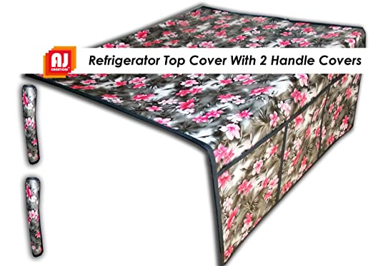 AJ Creations Pink Flower Fridge Top Cover And 2 Fridge Handle Covers Refrigerator Covers