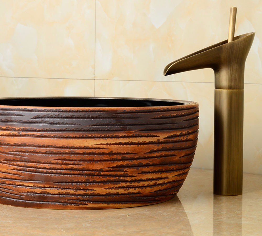 AWXJX European style retro style copper hot and cold bath wash your face with brushed Sink Mixer Taps