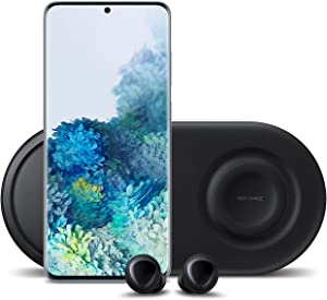 Samsung Galaxy S20+ Plus 5G Factory Unlocked 128GB | New Android Cell Phone Bundle | US Version | Cloud Blue | Includes Samsung Galaxy Buds & Samsung Duo Wireless Charging Station