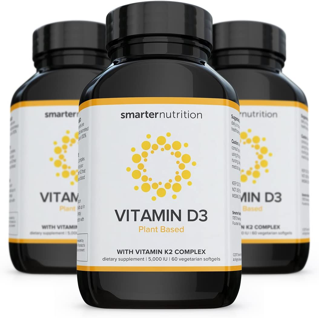 Plant-Based Vitamin D3 with K2 Complex for Immune System Support | Includes 5,000 IU of Vitamin D for Supporting Complete Bone Health & Arterial Protection (180 Count - 3 Month Supply)