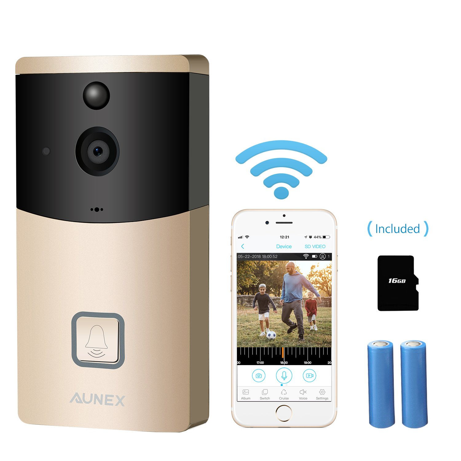 UPGRADED Video Doorbell,WIFI Wireless Doorbell Camera 720P HD Security Camera PIR Motion Detection Night Vision Real-Time Video Two-Way Audio Wide-angle for IOS and Android Built-in 16GB SD Card(Gold)