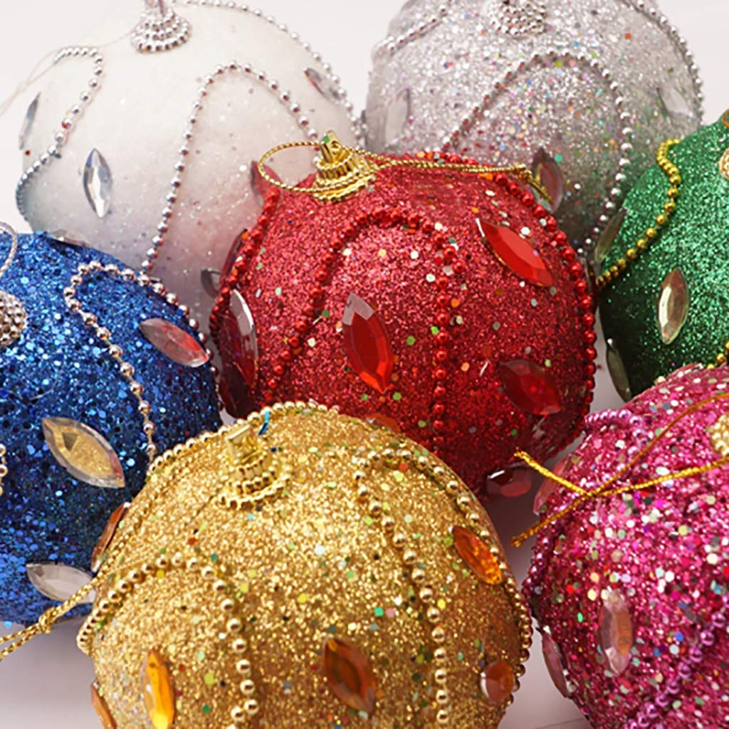 12 Purple /& Gold Feather /& Sequin Decorated Christmas Tree Baubles Decorations