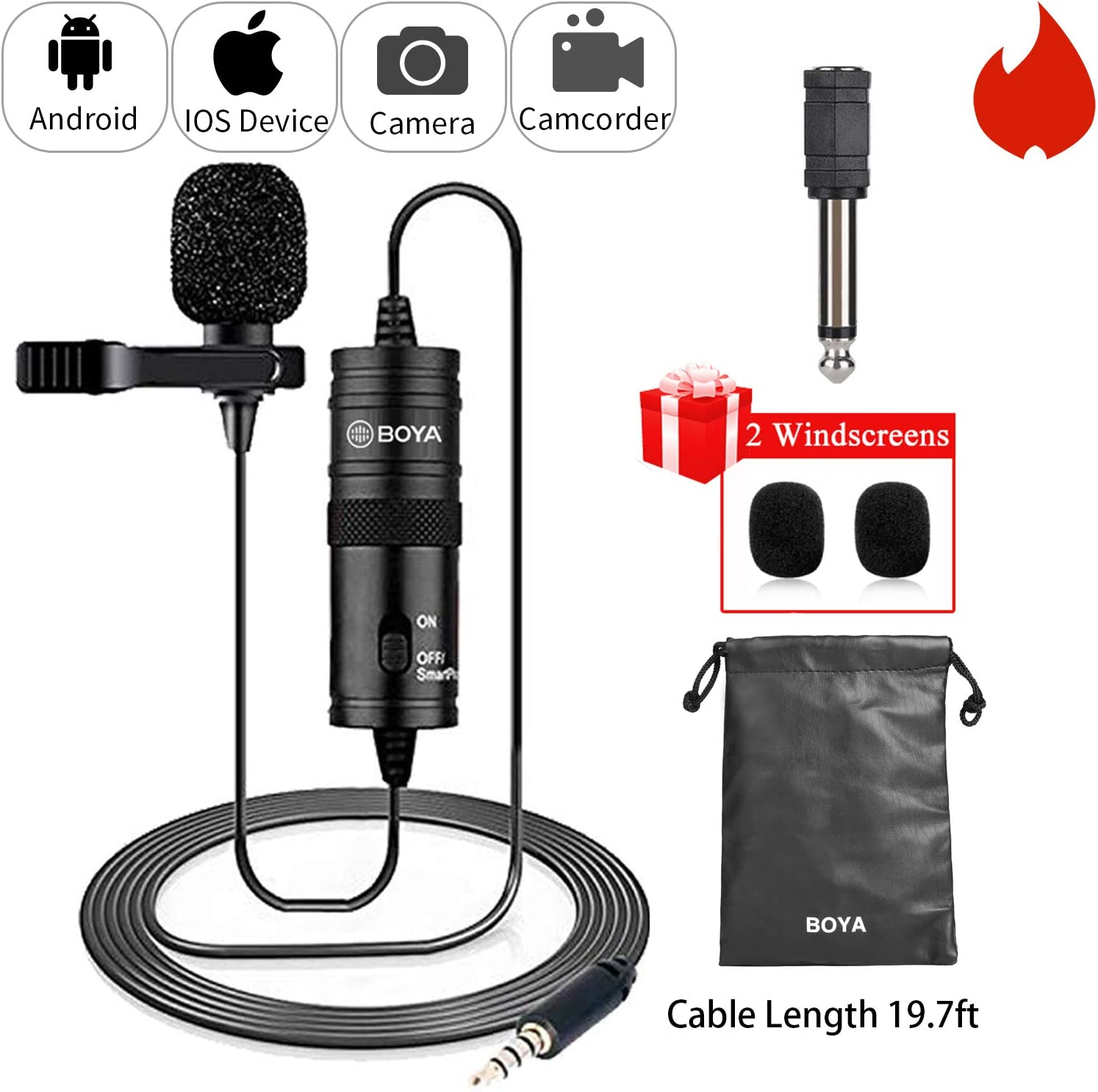 19 Feet Lavalier Microphone for Canon iPhone Podcast, BOYA Omnidirectional Condenser Recording Mic for Nikon Sony iPhone 8 8 plus 7 6 6s Plus DSLR Camcorder Audio Recorder Youtube Interview Video 71Gq9niMz9L