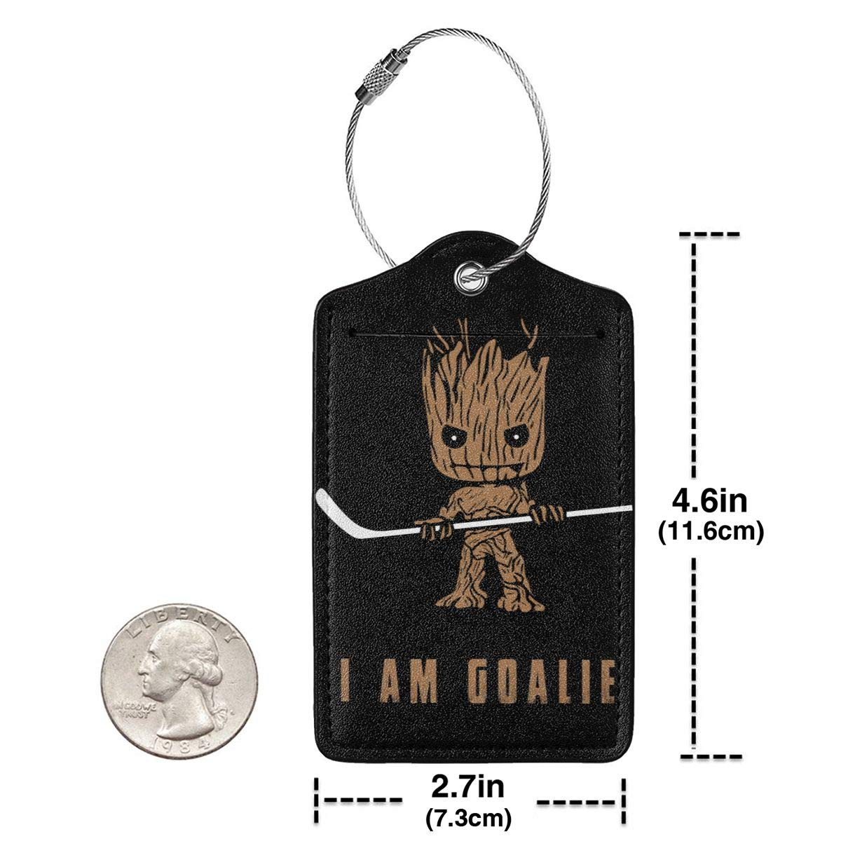 Groot I Am Goalie Hockey Leather Luggage Tag Travel ID Label For Baggage Suitcase