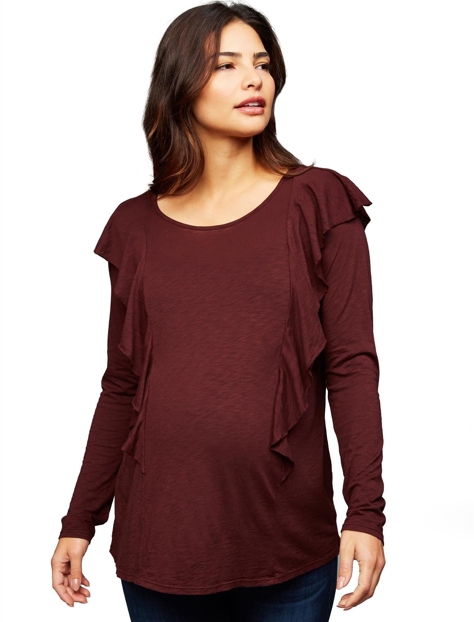 A Pea in the Pod Ruffled Maternity Top