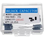 BOJACK 5X11mm 100uF 16V 100MFD 16Voltage ±20% Aluminum Electrolytic Capacitors(Pack of 10 Pcs)
