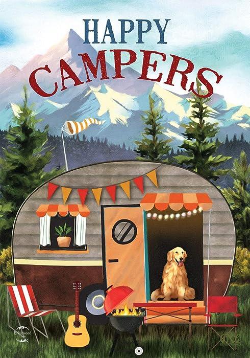 "Briarwood Lane Great Outdoors Camper Fall Garden Flag RV Dog Autumn 12.5"" x 18"""